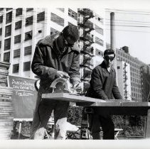 Image of B+W photos, 5, of life test, Black & Decker circular saw torture test, at or near United States Testing Co. facility, Hoboken, N.d., ca. 1970-1980. - Print, Photographic