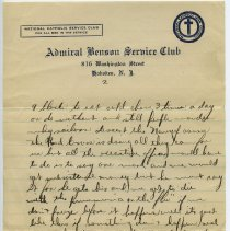 Image of letter 1, pg 2: Admiral Benson Service Club, Feb. 17, 1919