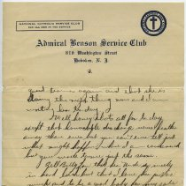 Image of letter 1, pg 3: Admiral Benson Service Club, Feb. 17, 1919