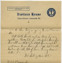 Image of letter 2, pg 3: Admiral Benson Club (Visitors House), March 2, 1919