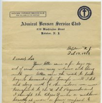 Image of ALS, 2, by N.T. Cissue(?), U.S.S. Paysandu, to his sister; written & sent from Admiral Benson Service Club, 816 Washington St., Hoboken; Feb 17, 1919; March 5, 1919.