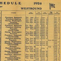 Image of inside detail, westbound schedule
