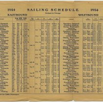 Image of full inside, 1924 sailing schedule