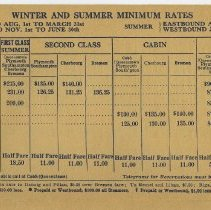 Image of outside detail, rotated: Winter and Summer Minimum [Fare] Rates