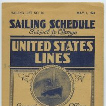 Image of Brochure: United States Lines. Sailing Schedule. Sailing List No. 26. May 1, 1924.  - Schedule