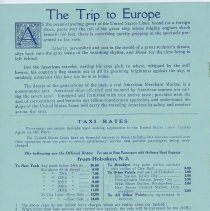 Image of pg 8: The Trip to Europe; Taxi Rates [from Hoboken]