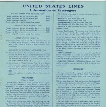 Image of pg 9: United States Lines, Information to Passengers