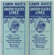 "Image of Brochure: United States Lines. Cabin Rates. No. C10. April 1, 1924. ""Sailing from Hoboken, N.J.""  - Brochure"