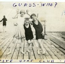 Image of B+W photo of children of Active Boat Club members posing on a Guttenberg, N.J.(?) dock, 1923. - Photograph