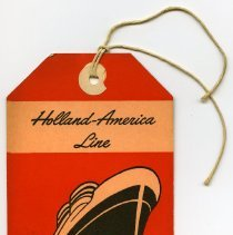 Image of Tag, baggage: Holland-America Line, Cabin Class. For use at Fifth Street Pier, Hoboken. N.d., ca. 1950s. - Tag, Luggage