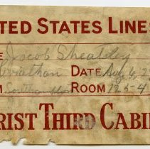 Image of Label, baggage: United States Lines, S.S. Leviathan, Tourist Third Cabin, Baggage Room. Aug. 6, 1929. - Label, Shipping