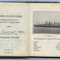 Image of inside front cover and 1st leaf: S.S. America