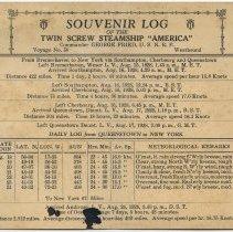 Image of inside: Souvenir Log, S.S. America, Voyage No. 50, westbound,