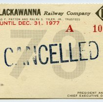 Image of Pass, railroad: Erie Lackawanna Railway Co., good for years 1973-1977. Blank, unissued; inkstamped: CANCELLED.  - Pass