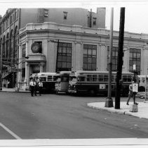 Image of B+W photo of Fourteenth & Washington Sts. looking northwest, Hoboken, n.d., ca. 1965-1969. - Print, Photographic