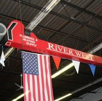 Image of Prop plumbers' pipe wrench from Riverwest Plumbing & Heating Supply, Hoboken, 2013; created for L. Pini & Sons; displayed on 1955 Hoboken Centennial Parade float. - Prop
