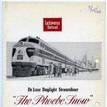 "Image of Menu: Lackawanna Railroad. ""The Phoebe Snow."" Buffet Menu. Dated March 25, 1960.  - Menu"