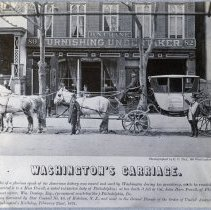 Image of Sepia tone photo of Washington's Carriage in front of B.N. Crane, Furnishing Undertaker, 80-82 Washington St., Hoboken, 1872.  - Print, Photographic