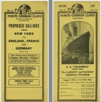 Image of Schedule: NGL. North German Lloyd Sailing List No. 4, April 6, 1924. Proposed Sailings from New York to England, France & Germany and return; Hoboken pier. - Schedule