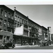 Image of B+W photo of west side of River St. from nos. 312 to 332 at Fourth St., Hoboken, Sept. 1, 1947. - Print, Photographic