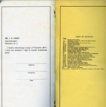 Image of pg [108] receipt; inside back cover: Table of Contetns