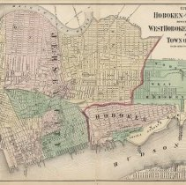 Image of Map: Cities of Hoboken & Jersey City, Townships of West Hoboken & Weehawken & Town of Union. From: F.W. Beers' Atlas of New Jersey, 1872 or 1876 printing. - Map