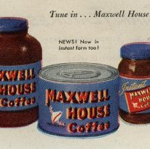 Image of detail lower left, products: Instant Maxwell House Coffee+ ground coffee