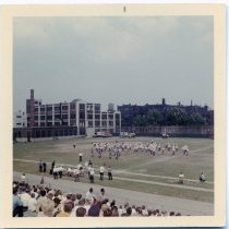 Image of Color photo of a marching band, J.F.K. Stadium, 10th & Jefferson Sts., Hoboken, n.d., ca. 1965-1975. - Print, Photographic