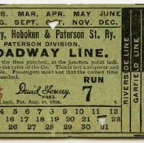 Image of Ticket: Jersey City, Hoboken and Paterson Street Railway Co., Paterson Divison. Broadway Line. N.d., ca. 1899-1901. - Ticket, Transportation