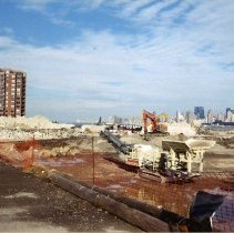 Image of Color photos, 3, of demolition at northeast corner of former Maxwell House Coffee plant, Hoboken, 2004. - Print, Photographic