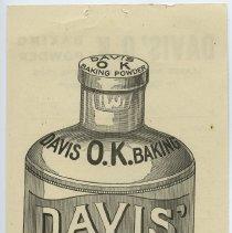 Image of back: depiction of Davis O.K. Baking Powder bottle with sealed cap.