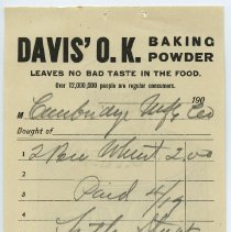 Image of Billhead: Davis' O.K. Baking Powder. Leaves No Bad Taste in the Food. Over 12,000,000 people are Regular Users. - Bill of Sale