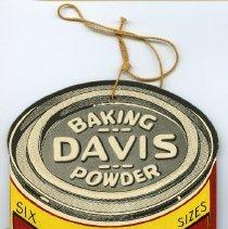 Image of hanging die-cut sign, Davis OK Baking Powder