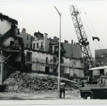 Image of B+W photo of demolition underway on buildings possibly for Church Towers residential development, Hoboken, n.d., ca. 1965-1969. - Print, Photographic