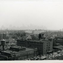 Image of B+W photo of view looking southeast of factory buildings on Monroe & Jackson Sts., Hoboken, n.d., ca. 1965-1969. - Print, Photographic