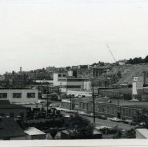 Image of B+W photo of view looking southwest of factory buildings on Monroe & Jefferson Sts., Hoboken, n.d., ca. 1965-1969. - Print, Photographic