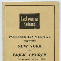 Image of Timetable: Lackawanna Railroad. Passenger Train Service Between New York and Brick Church. Corrected to March 1, 1907. - Timetable