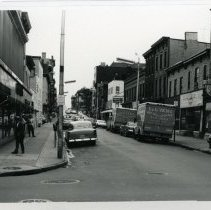 Image of B+W photo of view east on First Street from Park Avenue, Hoboken, n.d., ca. 1965-1969. - Print, Photographic