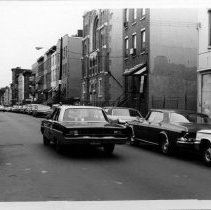 Image of B+W photo of view north on Park Ave. between 1st & 2nd Sts.; United Synagogue of Hoboken, Hoboken, n.d., ca. 1965-1969. - Print, Photographic