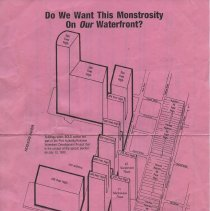 Image of handbill1, side 1: map with site plans of proposed development