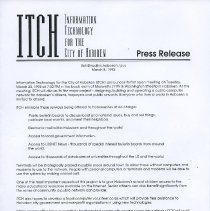 Image of Press release: ITCH (Information Technology for the City of Hoboken) 1993