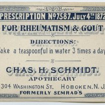 Image of Charles H. Schmidt label: For Rheumatism & Gout.