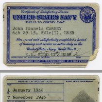 Image of 7: wallet card, Certificate of Satisfactory Service, U.S.N., World War II
