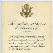 Image of 8: Memorial certificate from President Jimmy Carter, 1977.