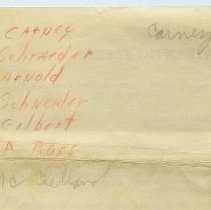 Image of 2: detail back of memo with names