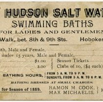 Image of back, text: The Hudson Salt Water Swimming Baths