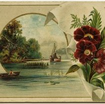 Image of front: vignetted river scene