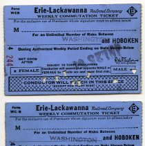 Image of front:  two 1964 Erie Lackawanna weekly commutation tickets