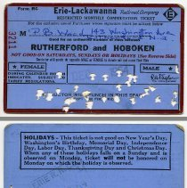 Image of front and back: 1964 Erie Lackawanna monthly commutation ticket