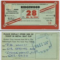 Image of front and back: 1966 Erie Lackawanna weekly commutation ticket